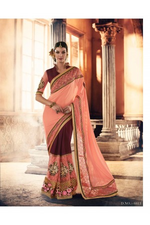 Party-wear-Wine-Peach-color-saree