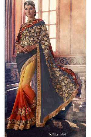 Party-wear-charcoal-Yellow-Orange-color-saree