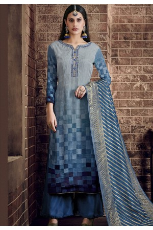 blue pure viscose silk digital printed palazzo suit 898