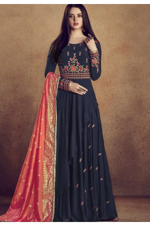 blue rayon ready made anarkali gown style suit 5009a