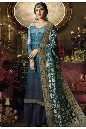 blue satin georgette digital printed sharara style pakistani suit 11046