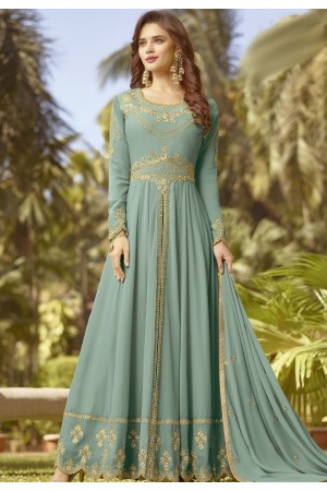 blue shade soft georgette long embroidered trouser anarkali suit 20024