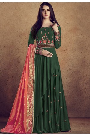 dark green rayon ready made anarkali gown style suit 5009b