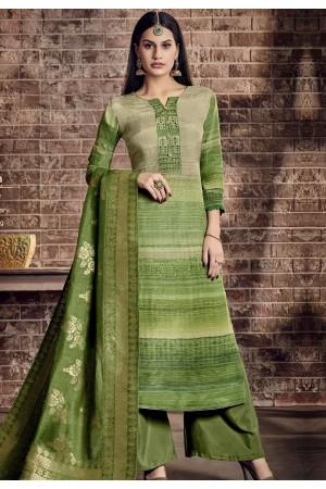 green pure viscose silk digital printed palazzo suit 896