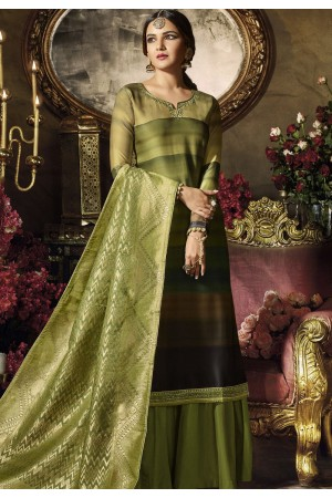 green satin georgette digital printed sharara style pakistani suit 11041