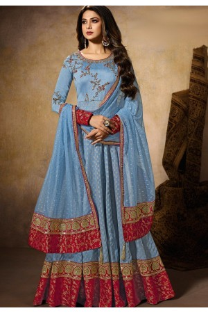 jennifer winget blue art silk embroidered floor length anarkali suit 11029