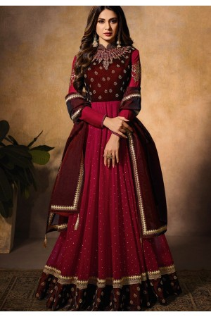 jennifer winget maroon resham work floor length anarkali suit 11030