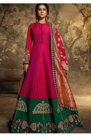 jennifer winget pink two tone silk floor length anarkali suit 11028