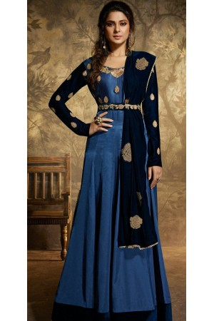 jennifer winget royal blue satin silk floor length anarkali suit 11026