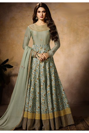 jennifer winget sky blue georgette silk floor length anarkali suit 11027