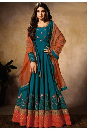 jennifer winget teal blue reception floor length anarkali suit 11031