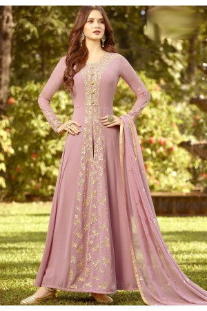mauve soft georgette long embroidered trouser anarkali suit 20021