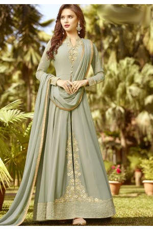 mint green soft georgette long embroidered trouser anarkali suit 20022