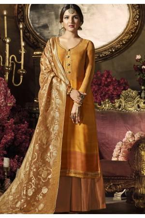 orange satin georgette digital printed sharara style pakistani suit 11042