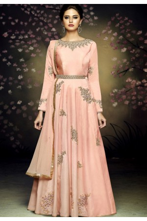 peach satin silk gown style long anarkali suit 3079