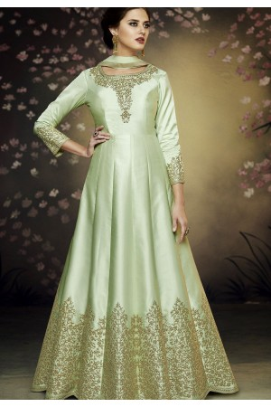 pista green satin silk gown style embroidered anarkali suit 3076