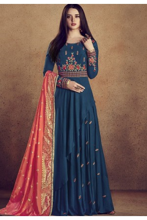 royal blue rayon ready made anarkali gown style suit 5009d