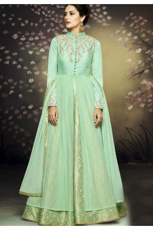 sea green net gown style embroidered anarkali suit 3078