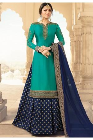 drashti dhami blue satin georgette floor length lehenga style suit 3308