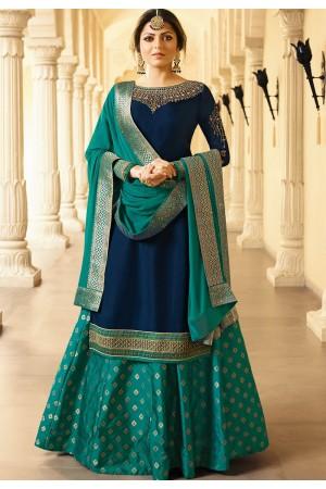 drashti dhami blue satin georgette lehenga style suit 3305