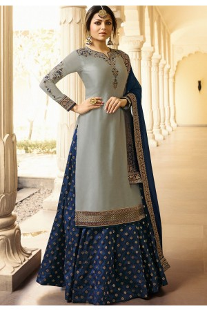 drashti dhami grey blue satin georgette lehenga style suit 3301
