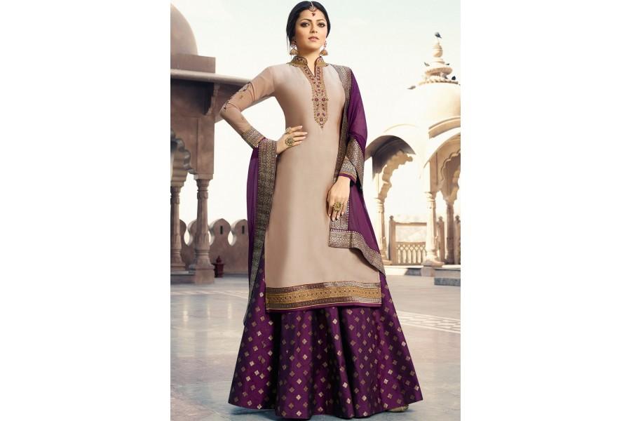b384b88488 drashti dhami peach purple satin georgette lehenga style suit 3306