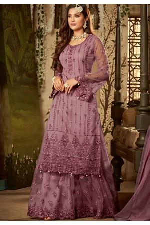 mauve shade net embroidered sharara style pakistani suit 61001