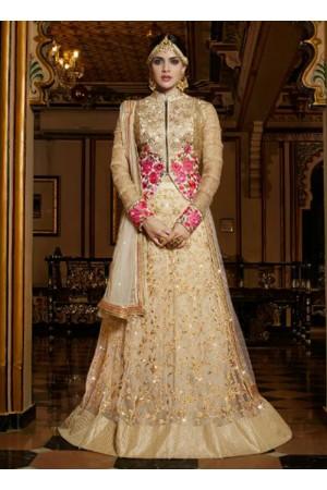 Beige net embroidery wedding wear lehenga choli