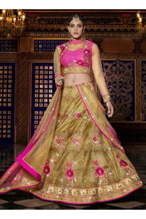 Beige silk wedding wear lehenga choli