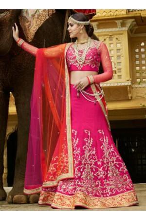 Pink Banarasi silk wedding wear lehenga choli