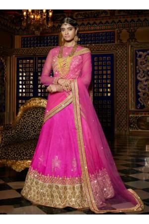 Pink color art silk wedding lehenga