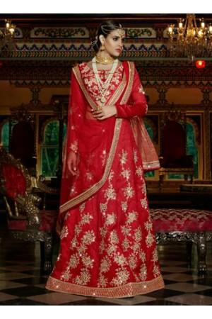 Red silk wedding wear lehenga choli
