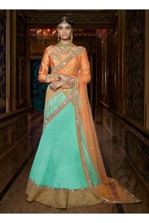 Designer Lehenga Sea Green And Peach Color Wedding Wear Lehenga Choli