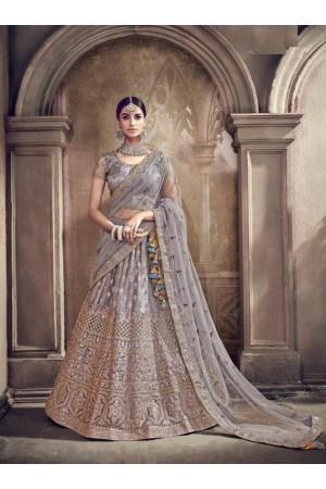Grey color net designer Indian wedding lehenga