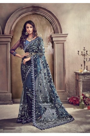 Navy blue net moti and sequence party wear saree