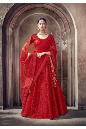 Red color heavy work Indian wedding lehenga