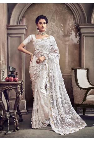 White color net moti work designer party wear saree