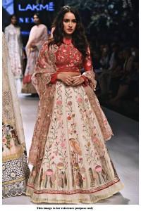 Bollywood Style Shraddha Kapoor white and red banglori silk lakme fashion  lehenga choli