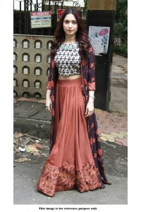 Bollywood Style Tamanna Bhatia peach taffeta silk lehenga kameez