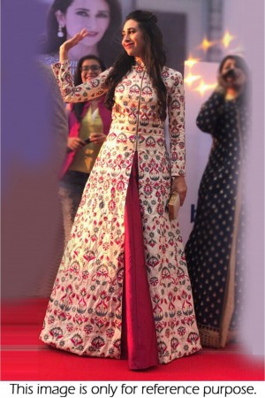 Bollywood Style karishma Kapoor offwhite and Rani  silk lehenga kameez