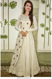 Bollywood Style Divyanka tripathi White taffeta silk gown