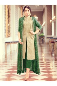 Beige and green color party wear pant style suit