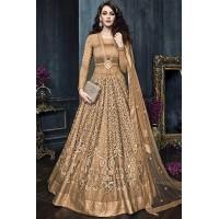 Brown color net weddding lehenga and pant style kameez