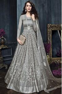 Grey color net weddding lehenga and pant style kameez