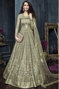 Olive Green color net weddding lehenga and pant style kameez