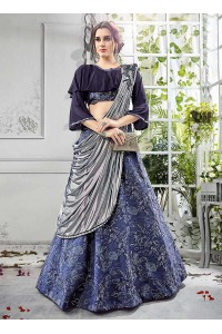 Party wear blue georgette lycra umbrella lehenga 202
