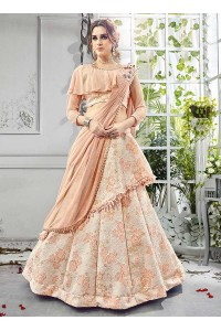 Party wear cream net lehenga 201