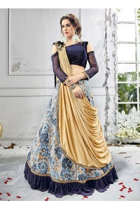 Party wear grey lycra a line lehenga 208