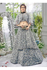 Party wear grey net a line lehenga 205