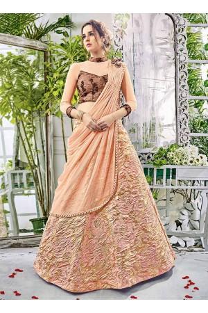 Party wear peach net lehenga 206